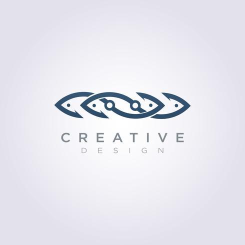 Haak vis illustratie ontwerp Clipart symbool Logo sjabloon