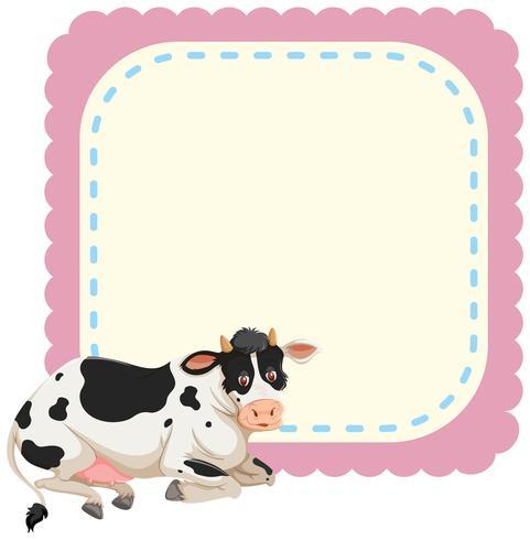 Een koe op notitiesjabloon