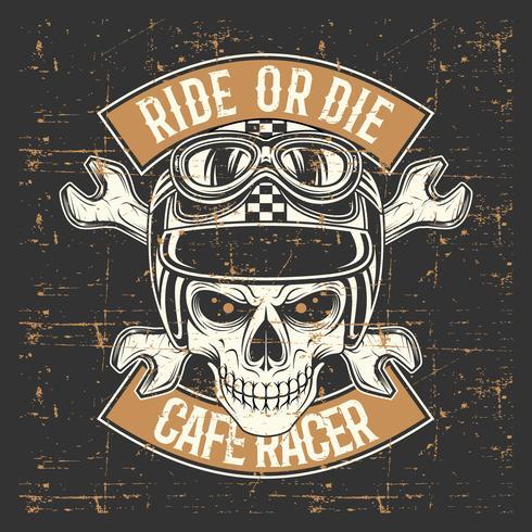 teschio stile vintage grunge indossando casco e testo cavalcare o morire