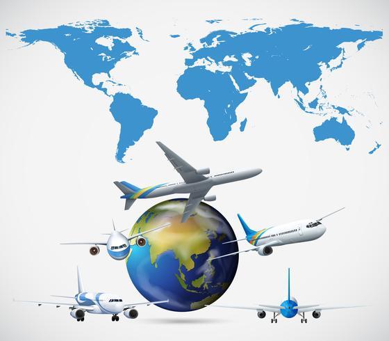 Muitos aviões voando ao redor do mundo