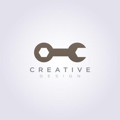 Modello di Logo di simbolo di clipart di progettazione dell'illustrazione di Vector del meccanico del cerchio dell'attrezzo