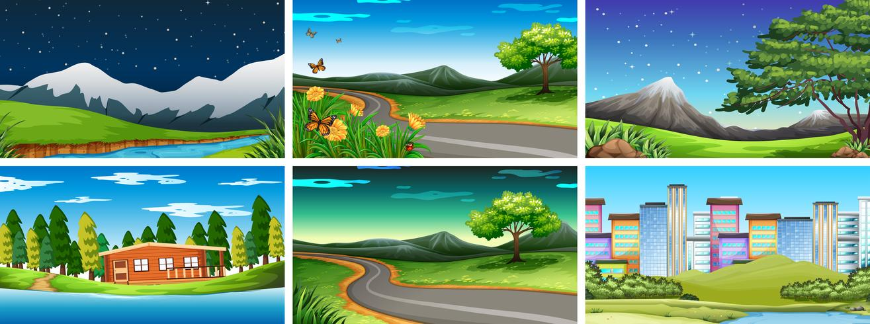 Conjunto de diferentes escenas de la naturaleza. vector