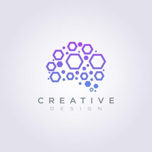 Cérebro Digital dados modelo Design empresa logotipo Vector símbolo ícone