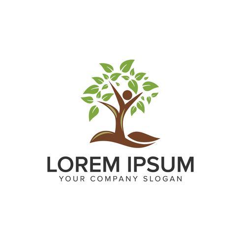 Plantilla de concepto de diseño de logotipo de árbol de personas. vector completamente editable