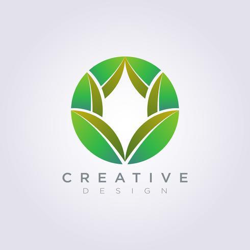 Hoja Círculo Plantilla Diseño Compañía Logo Vector Símbolo Icono