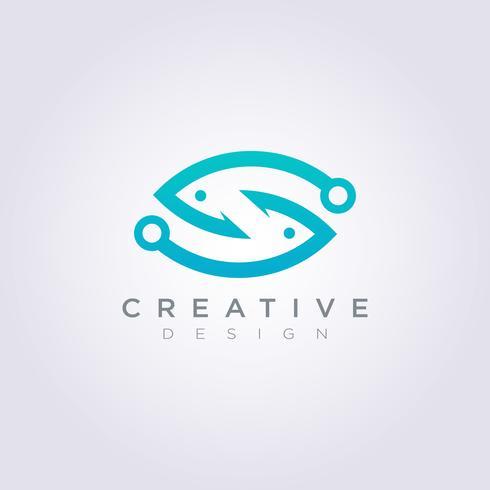 Haken-Fisch-Illustrations-Design Clipart-Symbol Logo Template