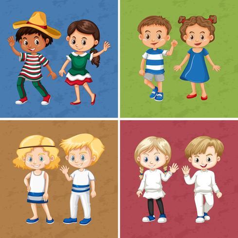 Ragazzi e ragazze in quattro diversi colori di sfondo