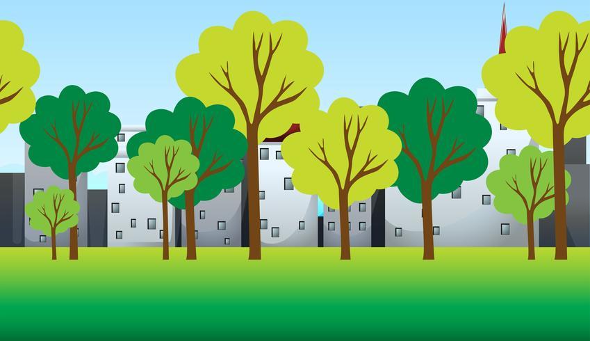 Cena com árvores e edifícios