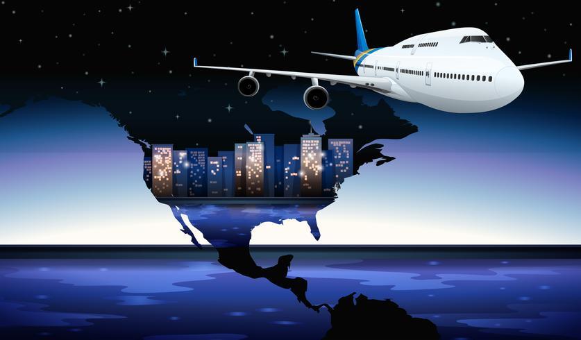 Um avião viajando