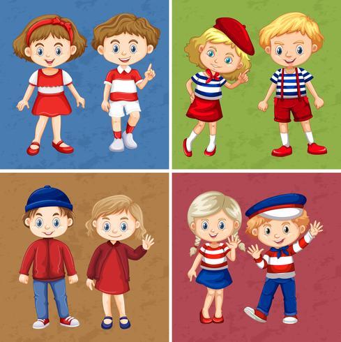 Enfants heureux sur quatre fonds différents
