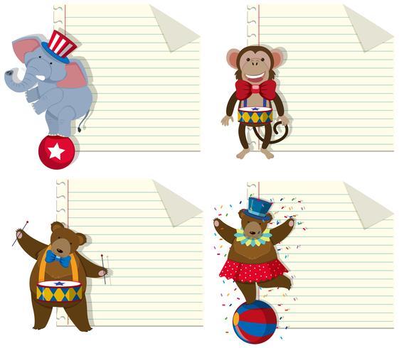 Set di modello di nota animale circo