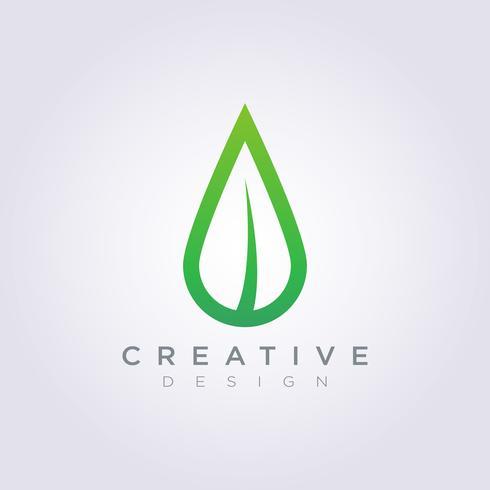 Leaf Vatten Drop Vektor Illustration Design ClipArt Symbol Logo Mall