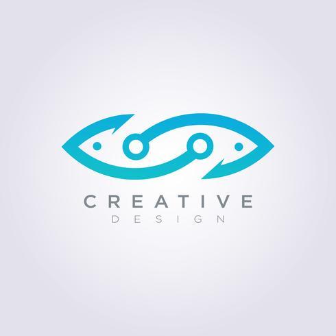 Hook Fish Illustration Design Clipart Symbol Logo Template