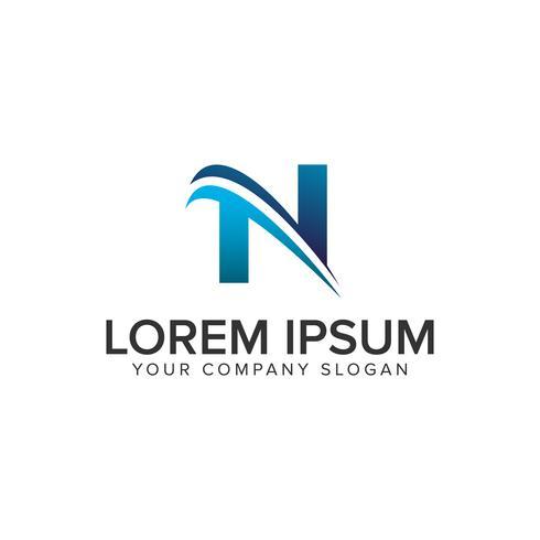 Cative moderner Buchstabe N Logo-Design-Konzept-Vorlage. vollständig bearbeiten
