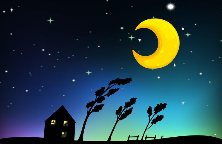 Scène de nuit avec maison et arbres