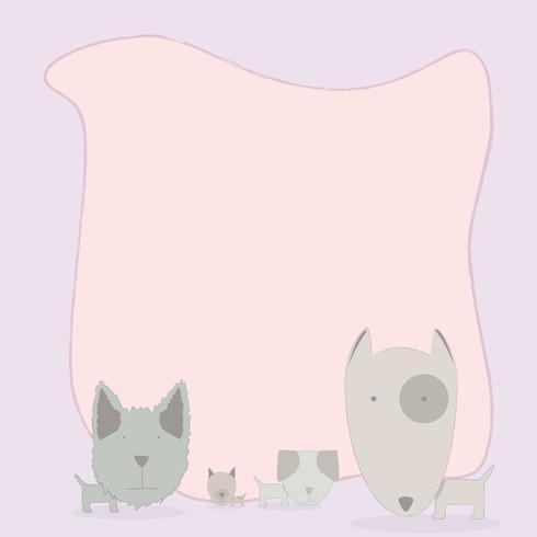 illustration de dessin animé avec une page blanche et un groupe de chiens.