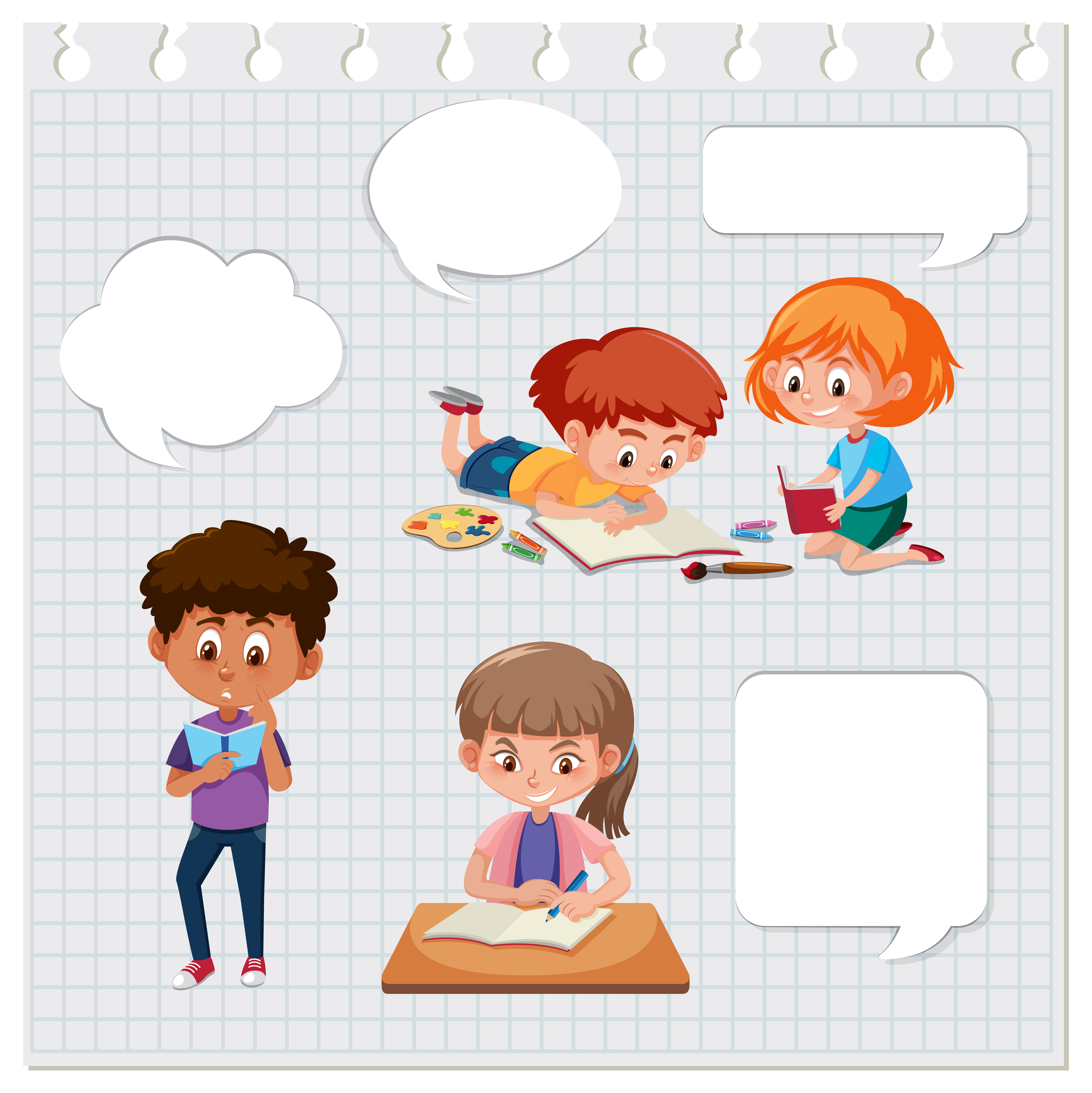 Flat Set Of Book Logos:  Set Of Children Learning With Speech Bubbles