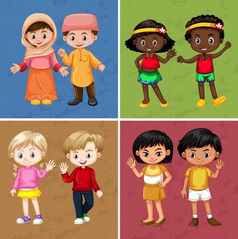Barn på fyra olika färgbakgrund