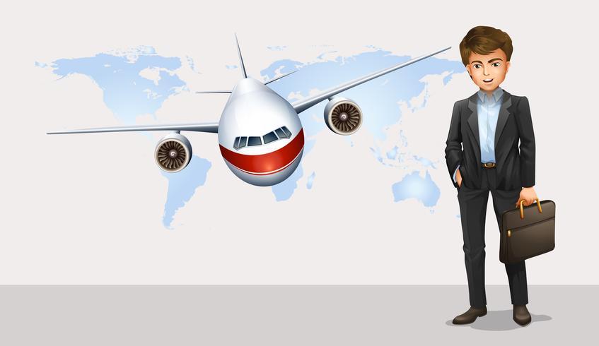 Affärsman och flygplan som flyger i bakgrunden