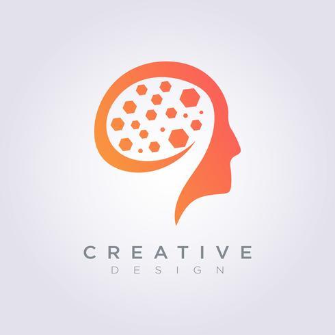 Icona di simbolo di vettore di Digital Template Template Design Company del cervello digitale