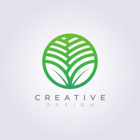 Blatt-Kreis-Schablonen-Design-Firma Logo Vector Symbol Icon