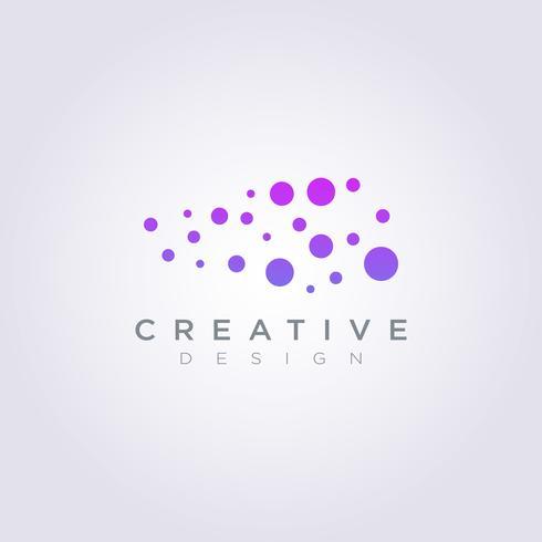 Modello di Logo di simbolo di clipart di progettazione dell'illustrazione di vettore della palla di dati genetici della molecola