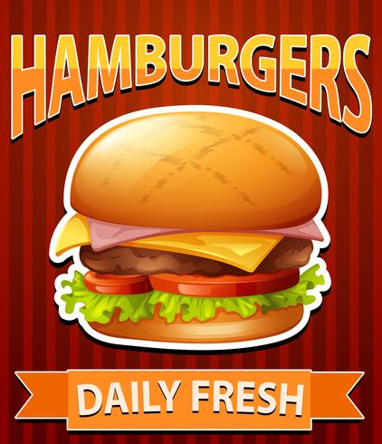 Cartel con hamburguesas con queso sobre fondo rojo