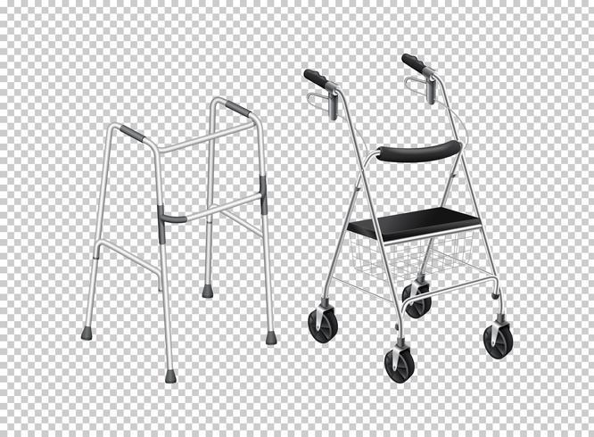 Walker com rodas para anciãos vetor