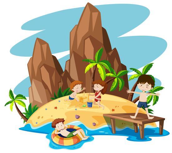 Bambini sull'isola estiva