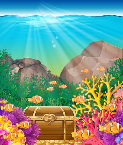 Fish and chest under the ocean