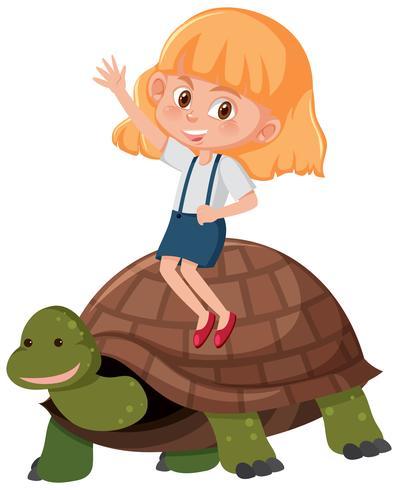Ragazza in sella a una tartaruga