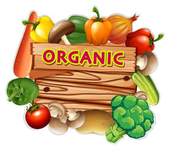 Organiskt tecken med färska grönsaker
