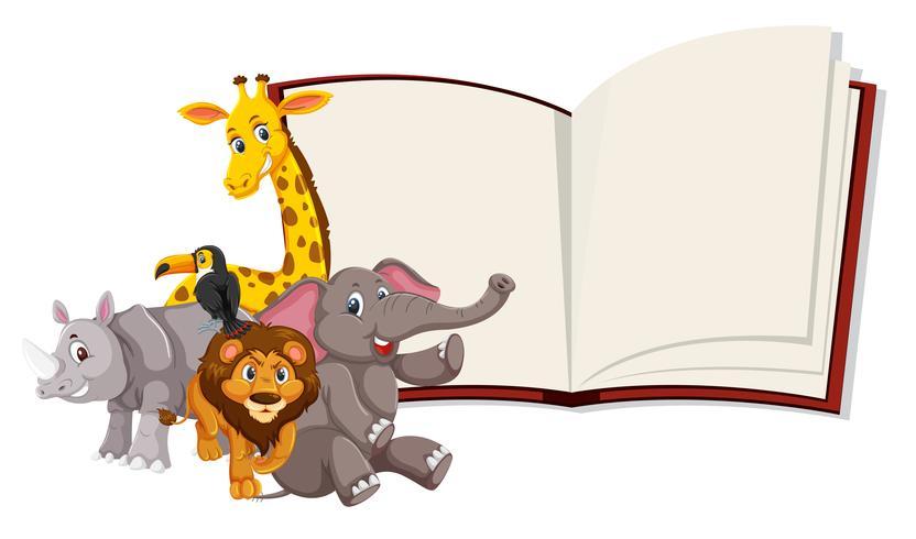 Wilde dieren openen boeksjabloon