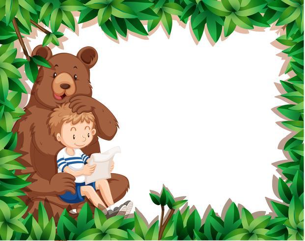 Jongen en beer op natuurgrens