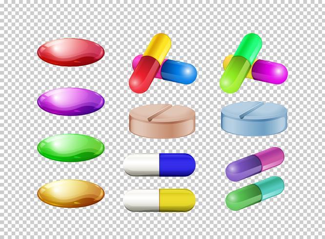 Olika färger av piller på transparent bakgrund