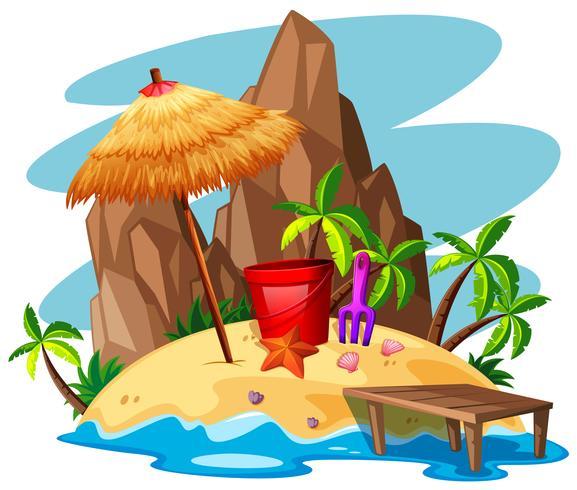 Scène met rots en strand op het eiland