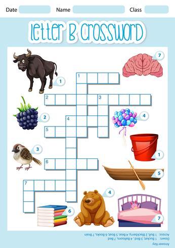 Modelo de jogo de letra B de palavras cruzadas
