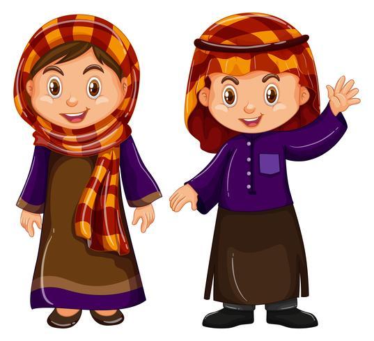 Niño y niña disfrazados de irag