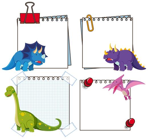 Set of dinosaur paper template vector