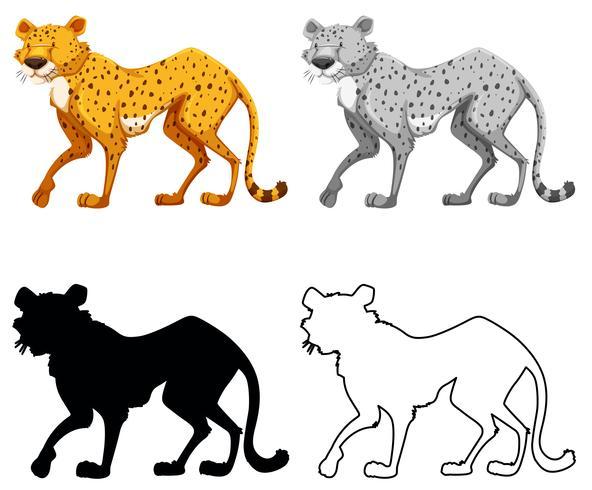 Set of cheetah charcter