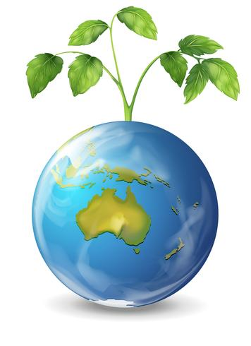 Planetenerde mit einer wachsenden Grünpflanze
