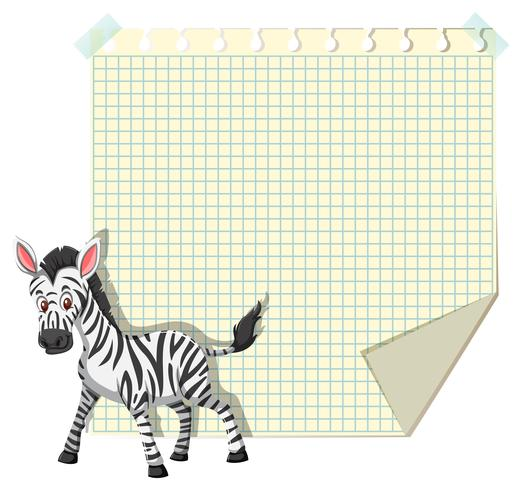 Zebra on note template