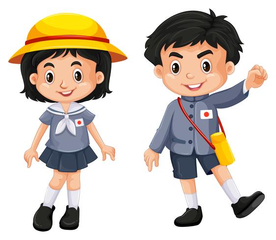 Chico y chica japoneses en uniforme escolar