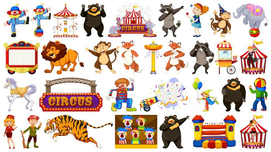 Set of circus animal