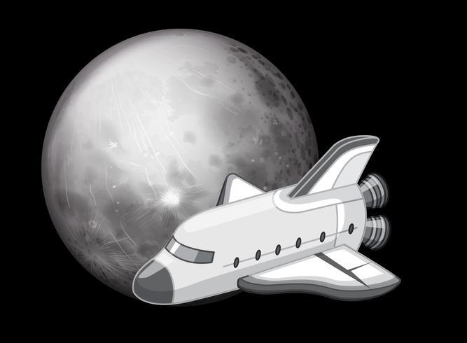 Zwart en wit ruimteschip scène