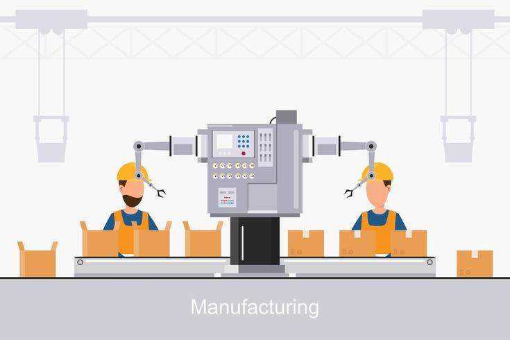 fabbrica industriale intelligente in uno stile piatto con lavoratori, robot e imballaggi in linea di assemblaggio