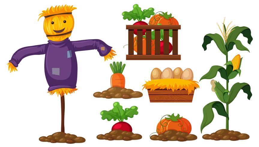 Set van boerderijproducten