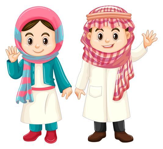 Pojke och flicka i Kuwait kostym