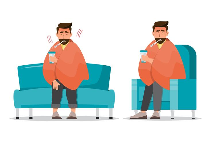 l'uomo malato che ha un raffreddore si siede nella stanza