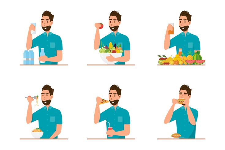 Menschen, die gesundes Essen und Fast Food mit unterschiedlichem Charakter essen vektor